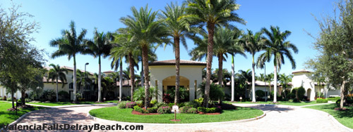 The clubhouse at Delray Beach's Valencia Falls is at the heart of the neighborhood's social scene. It is a great place to meet up with neighbors to enjoy recreational activities.